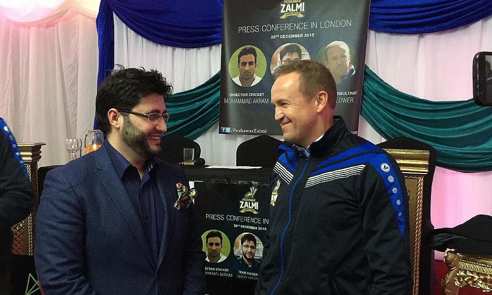 Javed Afridi chats with Andy Flower at the launch of the Peshawar Zalmi Foundation
