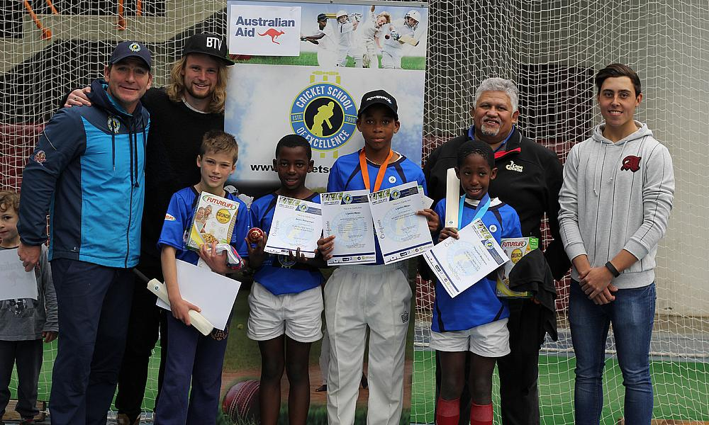 L-R Ryan Maron, Richard Stirton, Daniel Cooke, Asive Bonyongo, Liyema Waqu, Yibanathi Matakane, Beresford Williams and Dan Da Costa