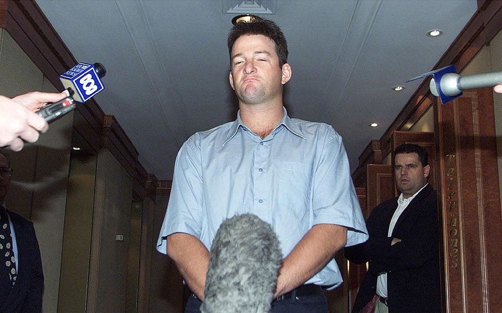 Australian cricketer Mark Waugh holds news conference over allegations of receiving money from a bookmaker