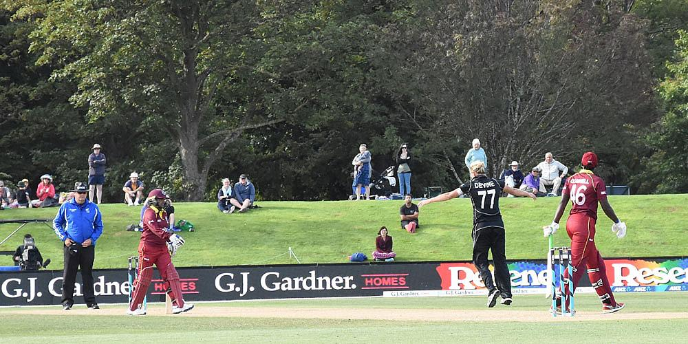 Sophie Devine celebrating the final wicket of Shamilia Connell
