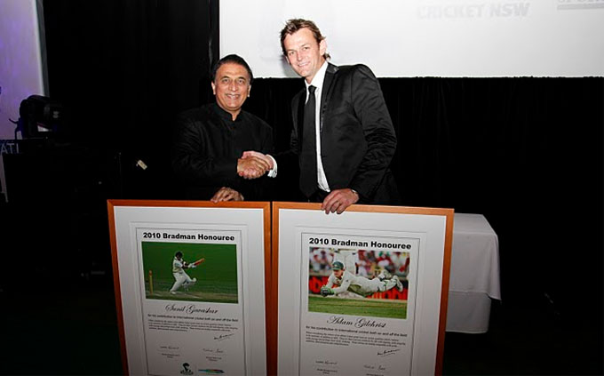 Sunil Gavaskar (left) and Adam Gilchrist were honoured at a star-studded event in Sydney