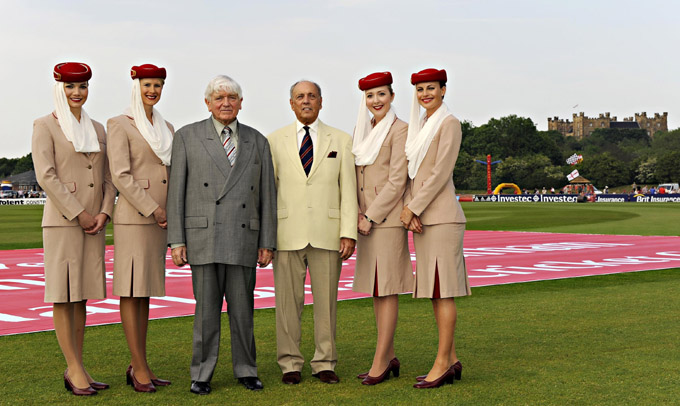 Emirates cabin crew, from L to R: Maurice Flanagan (Executive Vice Chairman, Emirates Airline and Group) and Clive Leach (Chairman, Durham County Cricket Club).Emirates cabin crew, from L to R: Maurice Flanagan (Executive Vice Chairman, Emirates Airline and Group) and Clive Leach (Chairman, Durham County Cricket Club).