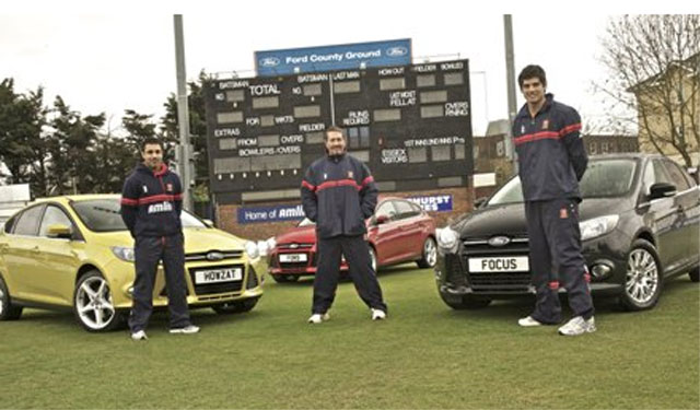 L-R: Ravi Bopara, Alastair Cook and Graham Gooch show off their new motors