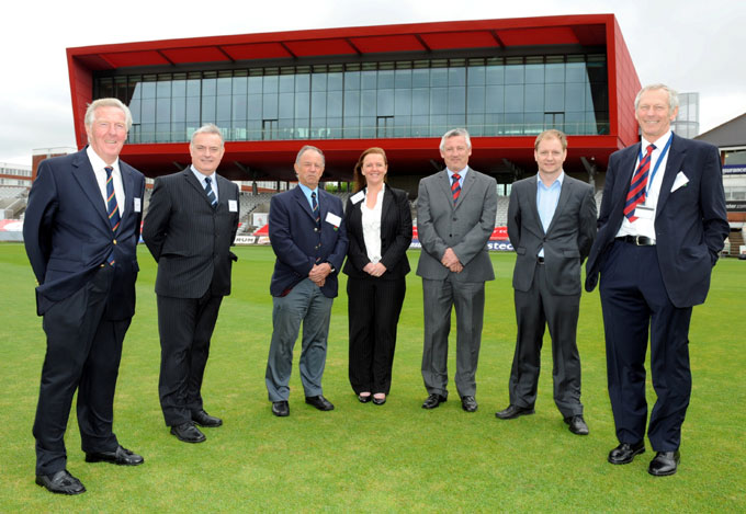Lancashire County Cricket Club's Chairman Michael Cairns OBE, Vice Chairman Geoffrey Shindler OBE, and Chief Executive Jim Cumbes were joined on the pitch by Morgan Sindall's Area Director Jim Morgan, Commercial Director Sharon Chrippes, Senior Contracts Manager Tony McCabe, and Project Manager Paul Galloway