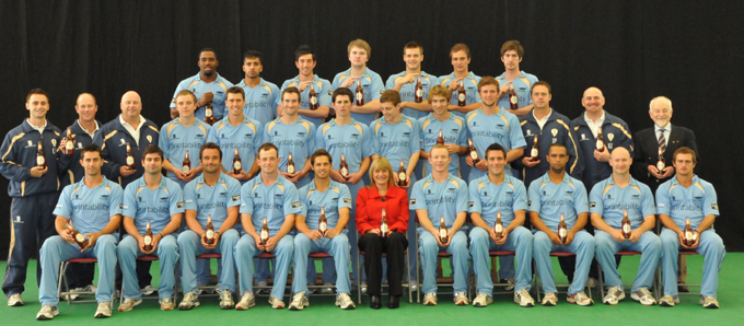 Greene King's Melanie Cropper with the Derbyshire County Cricket team