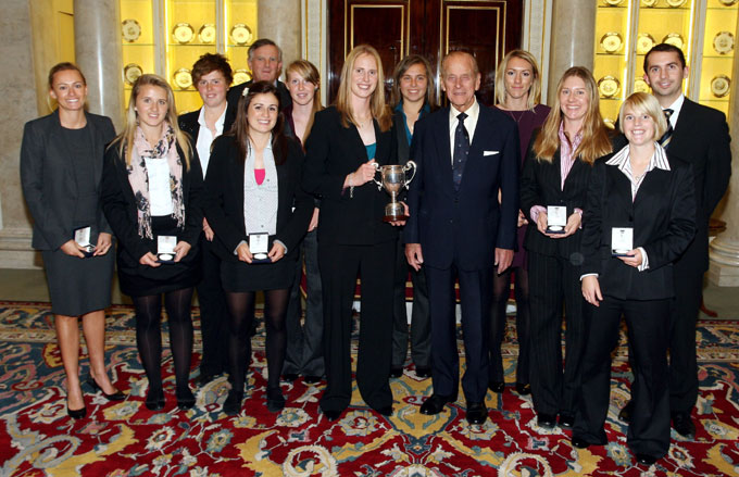 The Sussex women with their trophy at Buckingham Palace