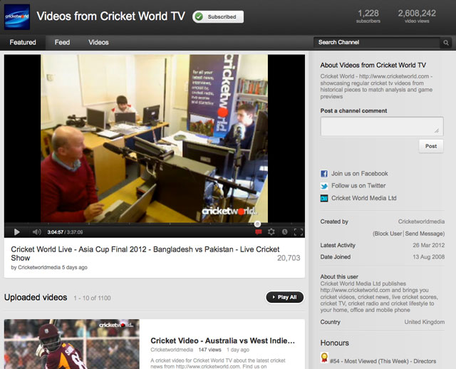 Cricket World On YouTube