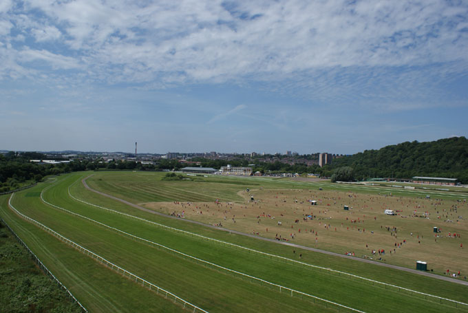 Aerial shot of the racecourse during the event