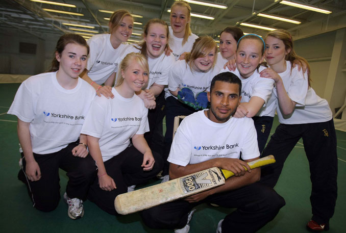 Adil Rashid with some of the youngsters at Headingley