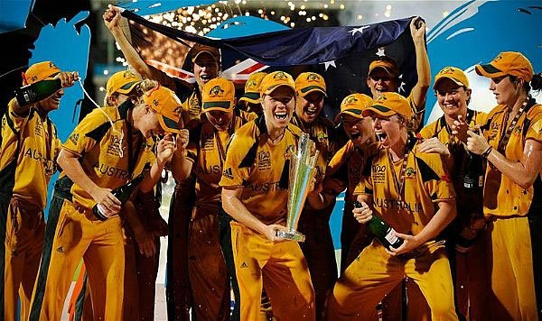Australia Women celebrate winning the 2010 title