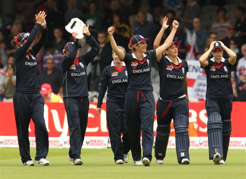 England celebrate their victory in 2009