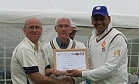 Alan Peacock, (left) receiving his award from MC Lions' Tour Director Mohit Chaturvedi (right) with Bute Club Chairman, David Mackay (centre).