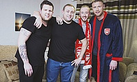 Freddie Flintoff joins fans to view Bayern v Arsenal in the Champions League encounter