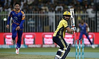 Shahid Afridi (right) in action for Peshawar Zalmi