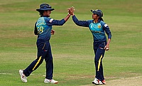 Shashikala Siriwardene (right) claimed four wickets in the game