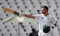 Aiden Markram celebrating his century in Johannesburg