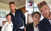 Andrew Flintoff with Rydal Penrhos pupil James Copeland and Aaron Sherrington