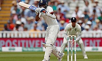 Ajinkya Rahane is hit on the arm guard