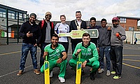 Irish Internationals Peter Chase, Simi Singh with Adamstown CC rep