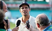 Alastair Cook speaks to the media at the end of play