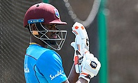 All-rounder Keemo Mandel Paul in the batting nets.