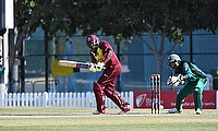Natasha McLean batting, on her way to a career best and innings top score of 82.