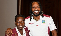 Windies players Deandra Dottin and Chris Gayle at the launch of the Colonial Medical Insurance ODI Series.