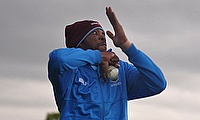 Roston Chase bowling in the nets