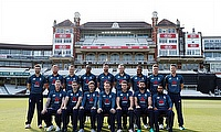 England's players pose for a team photograph before nets
