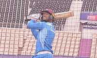 Nicholas Pooran plays a cut shot during his time in the nets