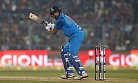 India's Yuvraj Singh watches the ball