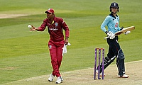 West Indies' Hayley Matthews and England's Amy Jones