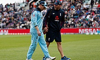 England's Eoin Morgan goes off injured