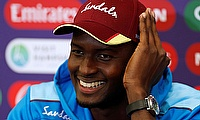 Jason Holder during the press conference