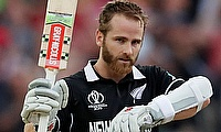 New Zealand's Kane Williamson celebrates a century