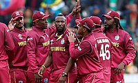 West Indies' Andre Russell celebrates