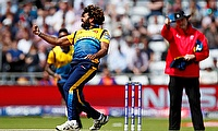 Sri Lanka's Lasith Malinga celebrates taking the wicket of England's Jonny Bairstow