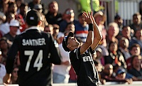New Zealand's Trent Boult takes a catch to dismiss West Indies' Chris Gayle