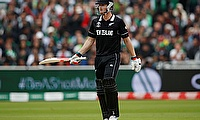 New Zealand's Jimmy Neesham celebrates his half century