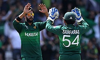 Pakistan's Imad Wasim and Sarfaraz Ahmed celebrate the wicket of Afghanistan's Ikram Alikhil