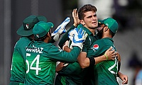 Pakistan's Shaheen Afridi celebrates taking the wicket of Bangladesh's Mahmudullah with team mates