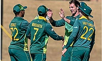 Kyle Simmonds(C) of South Africa Emerging celebrates after getting his second wicket during the 2019 One-Day Triangular Series, 6th One Day Match Sout