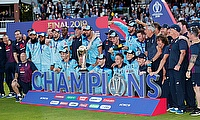 ICC Cricket World Cup Final - New Zealand v England - Lord's, London, Britain - July 14, 2019 England celebrate winning the world cup with the troph