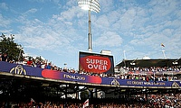 General view of the big screen during the super over