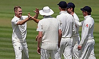 Jamie Porter celebrates a wicket for England Lions against the Australian XI in Canterbury