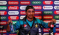 Pakistan bowling coach Azhar Mahmood during a press conference