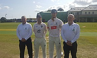 Captain George Dockrell with Warriors captain Andy McBrine and umpires