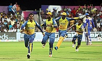 Dindigul Dragons celebrate after reaching the TNPL 2019 final