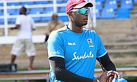 Captain Jason Holder during the warm-up exercises.