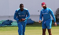 Jason Holder working with coach Corey Collymore